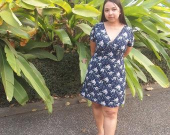 Spring dress, Summer dress, Picnic, Navy blue dress, dark blue dress, plus size, floral dress, A line skirt, short sleeve, v neck line dress