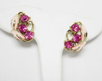 Pink Enamel & Rhinestone Clip on Earrings - Pink Enamel Leaves - Bright Pink Round Chaton Glass Rhinestones - Mid Century Vintage 1950's Era