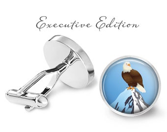 Bald Eagle Cufflinks - Eagle Cuff Links - Bird Cufflink (Pair) Lifetime Guarantee (S1068)