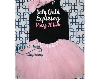 Only Child Expiring Big Sister Shirt Little Sister Shirt Pregnancy Announcement Shirt Sibling Shirts Baby Announcement Shirt Glitter shirt