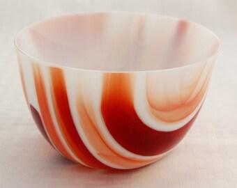 Reddish brown fused glass bowl