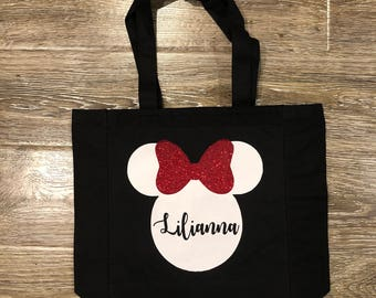 DISNEY TOTE, Minnie Mouse Tote, Minnie Mouse Bag, Minnie Tote, Personalized Minnie Tote, Minnie Bag, Disneyland Bag, Disneyland Tote, Minnie