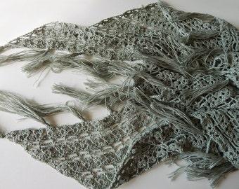 Crochet linen shawl green lace shawl, boho shawl, summer shawl, herbal shawl, sagebrush shawl, crochet wrap, linen wrap, gift for her