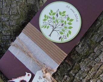 Wedding invitation rustic nature theme, wood, zen