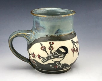 Sgraffito Handmade Pottery Large Chickadee Mug in Grey and White with Red Maple Buds