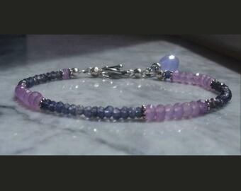 Purple bracelet lavender iolite AAA jade lilac chalcedony bracelet gemstone bracelet beaded sterling silver bracelet violet charm stacking