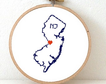 NEW JERSEY Map Cross Stitch Pattern. New Jersey art pattern. New Jersey ornament pattern with Trenton. USA decor. Wedding gift.
