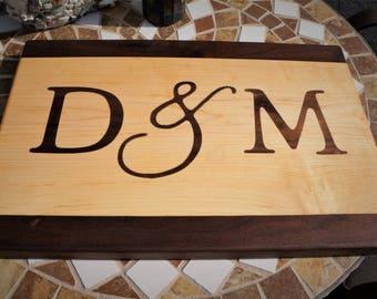 Initials Inlay Wood Cutting Board