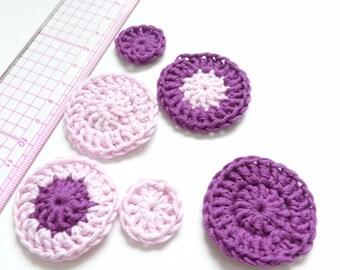 Set of 6 appliques crochet purple pink tone