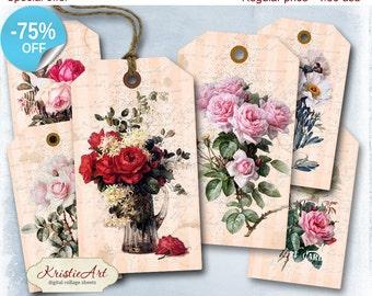 75% OFF SALE Roses Tags - Digital Collage Sheet Digital Tags T009 Printable Download Flowers Tags Digital Image Tags