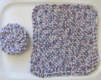 Knitted dishcloth and crocheted scrubbie - yarn is called blueberry speckle