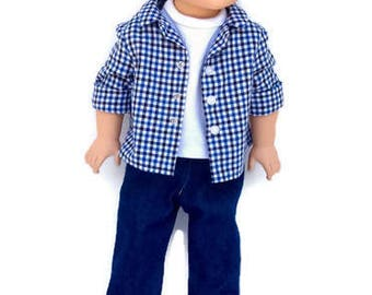 18 Inch Boy Doll Clothes, 3 Piece Set, Blue Plaid Button Front Shirt, White T-shirt, and Blue Jeans, Boy Doll Clothes