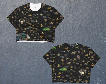 Bees,colourful, Crop Top, cut off t-shirt,nature print,photographic,bugs tee,