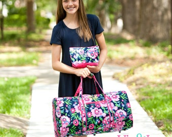 Girls duffle bag, personalized travel bag, monogrammed cosmetic case, monogrammed duffle bag, girls travel kit, birthday gift