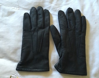 Vintage Black Leather, Fleece Lined Gloves - Size Small