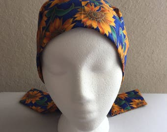 Women's Cancer Hat - Chemo Hat - Scrub Cap - Hair Loss - Head Coverings - Chemo Comfort - Sunflowers