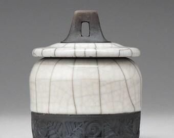 Ceramic Trinket Box, white raku, round handmade raku fired clay box, treasure box, home decor, lidded box