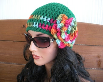 Womens Hat Crochet Hat Winter Fashion Accessories Women Beanie Cloche Hat in Paddy green with multicolor stripes and flower