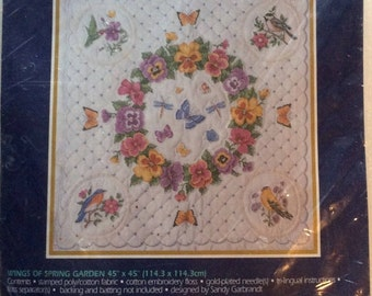 Mothers Day Gifts, Bucilla Stamped Cross Stitch Kit, Wings of Spring Garden Quilt, Unopened, Kit 42748, Bucilla Quilt Kit, Spring Garden Kit