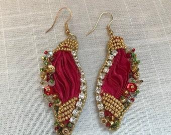 Red Shibori Silk Earrings