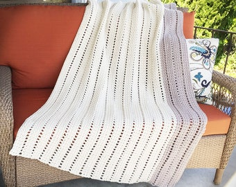 Large Thick Afghan Blanket, Cream and Gray Throw