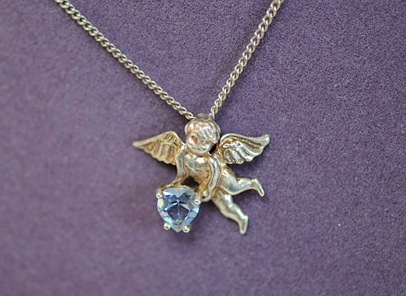 Vintage 925 Sterling Silver 925 Pendant Necklace.. Cupid With Blue Heart (#79)
