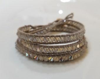 Swarovski bracelet triple wrap light grey opal