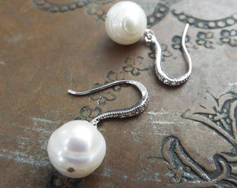 Freshwater Pearl and CZ Sterling Silver Earrings