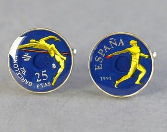 Barcelona 25 Pesetas Cufflinks coins.1992 Olympic Games