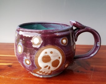 Skull Mug - Purple and Seafoam Blue