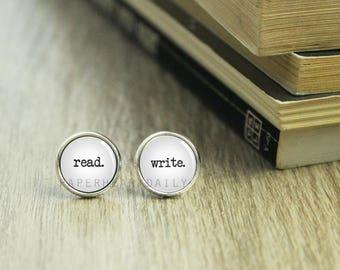 Read Write Earrings - Writer Earrings - Author Jewelry - Gift for Writer - Book Jewelry - Book Lover Earrings - (H4401)