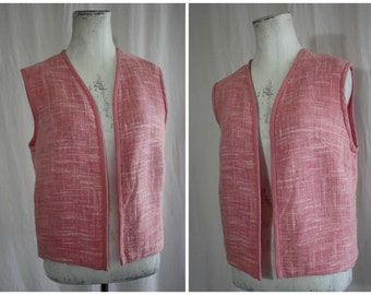 Pink Tweed Cotton Blend Waistcoat Vest by Jean Comton Vtg 1960s Sm Med 32 Bust Proceeds Goes to Charity Pinky's Passion
