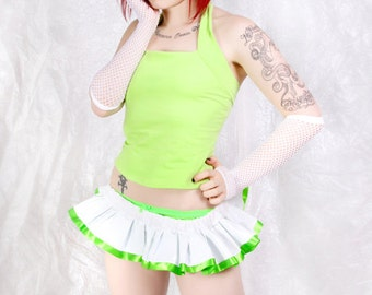 Neon Lime Green and White Shiny PVC Pleather Micro Mini GoGo Skirt all sizes MTCoffinz