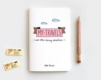 Travel Journal & Pencil Set, Personalized Gift Set, Recycled Notebook - My Travels and Daring Adventures, Stocking Stuffer