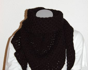 Knitted black scarf handmade in the honeycomb stitch