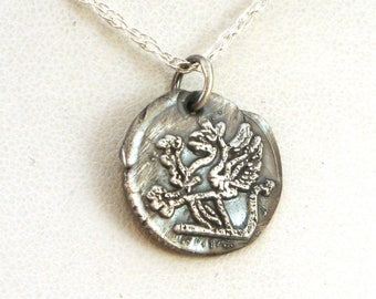 Griffin Wax Seal Necklace - Gryphon Necklace - Vintage Inspired Celtic Necklace in Fine Silver