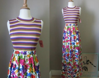 1960s Goldworm colorful maxi dress | 60's rare striped floral print dress