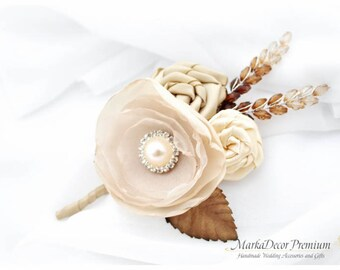 Groom Boutonniere Wedding Corsage with Handmade Flowers, Stamens and Brooch in Ivory, Champagne,Tan and Brown