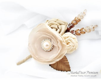 READY TO SHIP Groom Boutonniere with Handmade Flowers, Stemens and Brooch in Ivory, Champagne,Tan and Brown