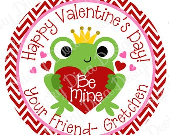 PERSONALIZED VALENTINE STICKERS - Prince Frog  - Round Gloss Sticker Labels