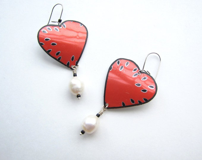 Heart Earrings with Pearls Handmade from Watermelon Recycled Soda Can