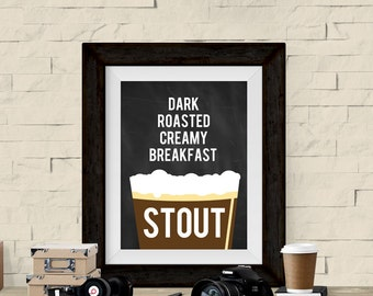 Craft Beer Poster - Stout - Gift for Beer Lover or Homebrewer - Beer Gift Ideas Homebrew Printable Art 5x7 and 8x10 Instant Download