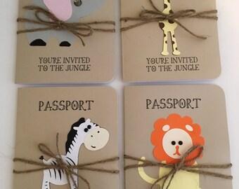Jungle, Safari, Elephant, Giraffe, Zebra and Lion Animal Passport Birthday Invitation or Shower Announcement
