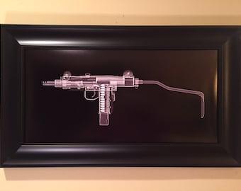 Mini Uzi CAT scan gun print - ready to frame