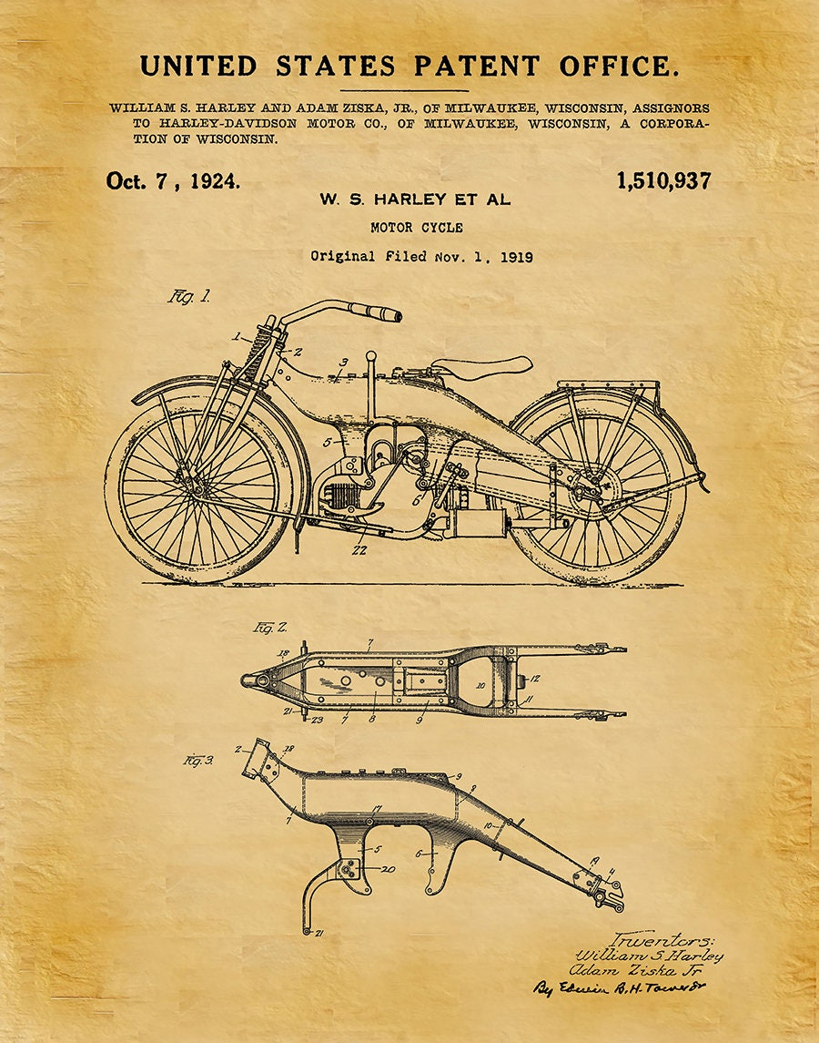 1919 Harley Patent Print Vers #2 Vertical - Harley Poster - Wall Art ...