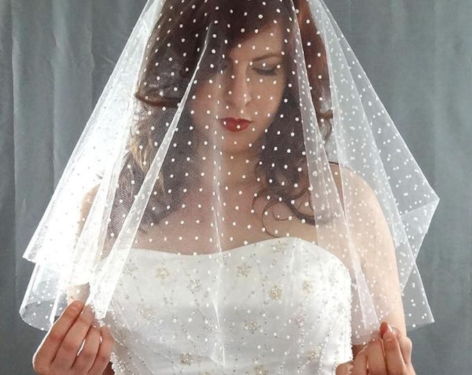 Featured listing image: Swiss Dot Drop Veil, Polka Dot Drop Veil