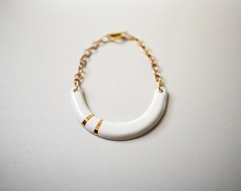 Beach White Gold Porcelain Necklace - Wedding Jewelry, Crescent Nautical Yoke- Oceanside Summer - 22k Gold - Porcelain Jewelry