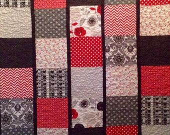Quilt Patchwork Quilt Red and White and Black Lap quilt Sofa Quilt handmade reg 205.00 now 180.00