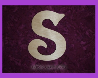 """Unfinished Wood Letter S Wooden Letters 6"""" Inch Tall"""