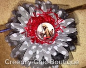 Michonne and her pets polkadot flower hair clip